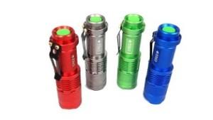 Four multi-colored mini Cree LED flashlights