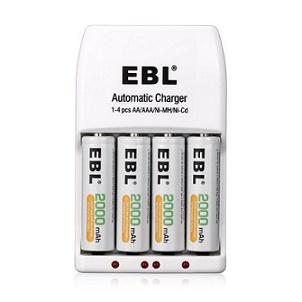 EBL 4 Pack AA 2000mAh Ni-MH Rechargeable Batteries with 4 Bay Smart AA AAA Battery Charger