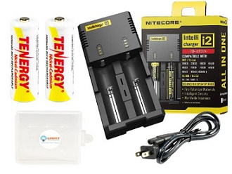 Nitecore i2 V2014 Intellicharge 2014 Version Charger with Two AA Tenergy 1000mAh NiCd Batteries